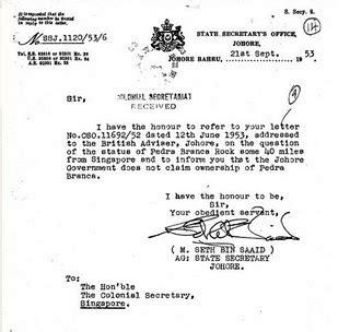 Demi Official Letter Format Kerala Putera Lapis Mahang Malaysia Tanah Air Ku M 115 Pulau Batu Putih Pedra Branca