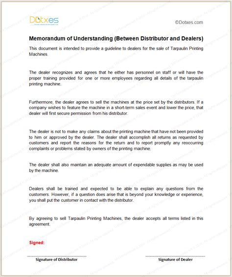 memo of understanding template mou template between distributor and dealers dotxes