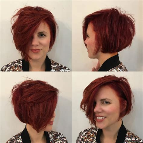 burgundy highlights on shag haircuts women s short messy side swept shaggy bob with red color