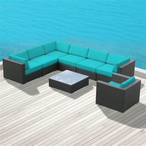 luxxella outdoor patio wicker duxbury turquoise sofa