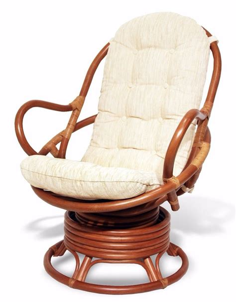 Java Handmade Design Rattan Wicker Swivel Rocking Chair Swivel Chair Cushions