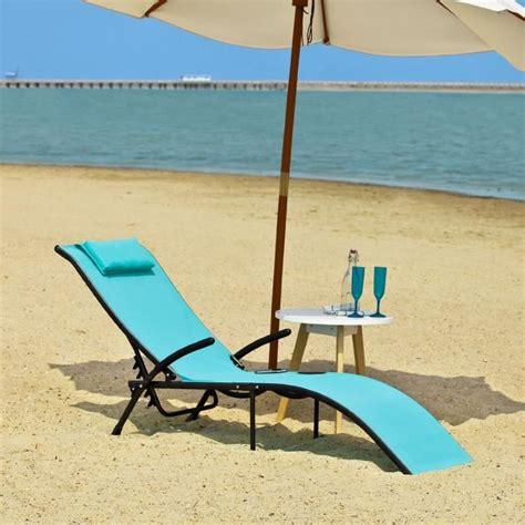 chaise longue de plage transat banc bain de soleil plage chaise longue bleu