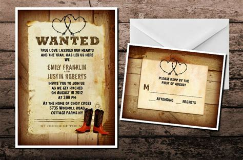 western country cowboy wedding invitations response cards boots rustic ebay