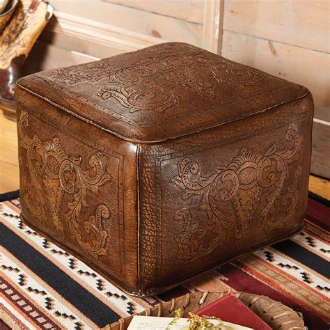 ottoman colonialism antique brown large colonial tooled leather ottoman