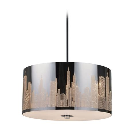 Stainless Steel Pendant Light Modern Drum Pendant Light In Polished Stainless Steel Finish 31038 3 Destination Lighting