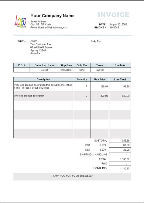invoices template 5 blank invoice templates word excel pdf templates