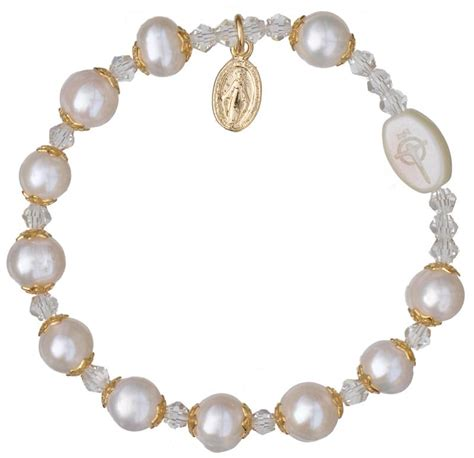 white gold rosary white pearl rosary bracelet with gold caps