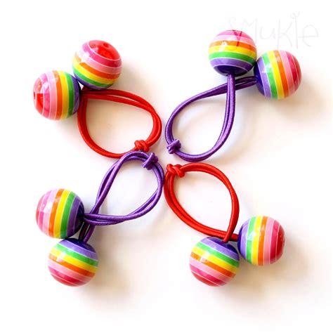 hair ties with rainbow bobbles pony holder hair tie elastic