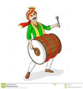 people playing dhol tasha in indian festiva stock vector