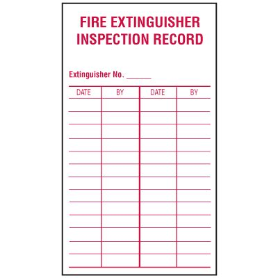 Fire Extinguisher Inspection Record Labels Seton Free Extinguisher Inspection Tags Template
