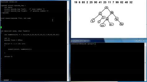 tutorial linux programming c programming in linux tutorial 062 binary search tree