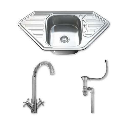 Corner Kitchen Sinks Stainless Steel 1 0 Single Corner Bowl Stainless Steel Kitchen Sink Tap Drainer Waste 1071 Ebay