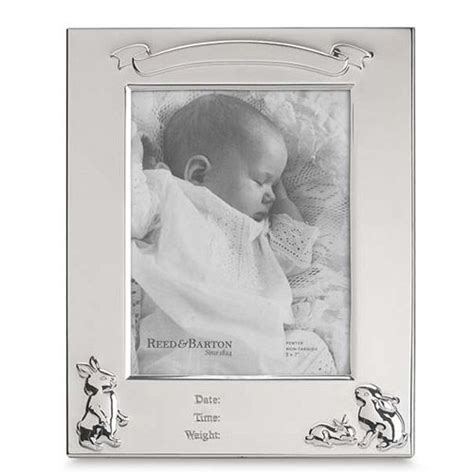 Pewter Birth Record Frame Reed Barton Bunny Pewter Birth Record Picture Frame