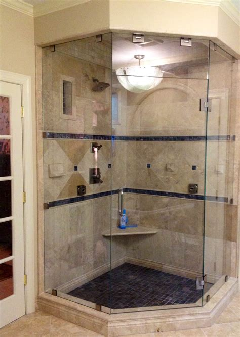 custom neo angle shower doors custom frameless neo angle steam shower enclosure