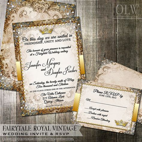 Princess Theme Wedding Invitations by Vintage Fairytale Royal Wedding Invitation By Oddlotpaperie