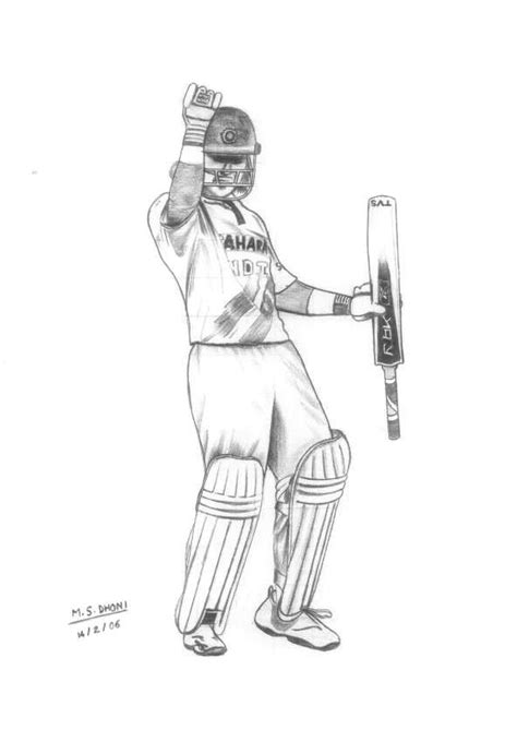 M S Dhoni Sketches by Cricket Ms Dhoni Sketch