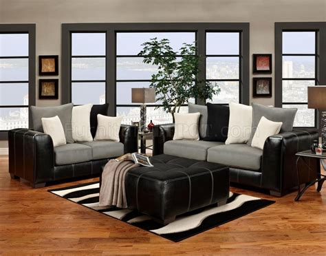 grey and black couch black vinyl grey fabric modern sofa and loveseat set w