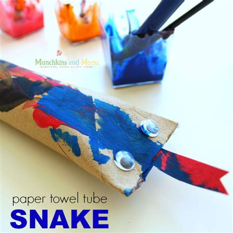 Paper Towel Crafts - paper towel snake craft munchkins and