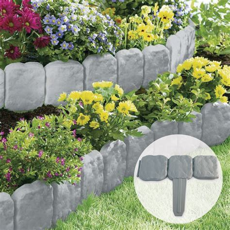 flower bed stones grey stone slab effect garden border plastic edging flower