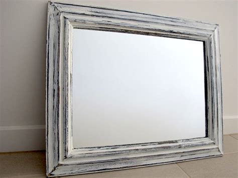 rustic mirror blue white distressed wooden mirror shabby