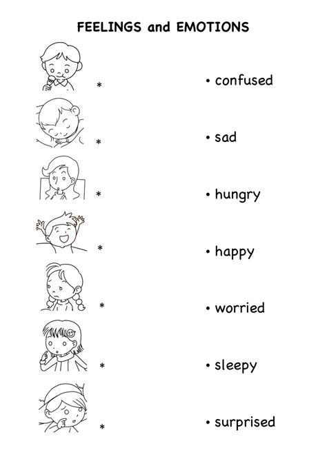 worksheets for preschoolers on emotions worksheets on emotion and feelings for kids english