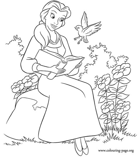 Belle Reading Coloring Pages | beauty and the beast belle is reading a book coloring page