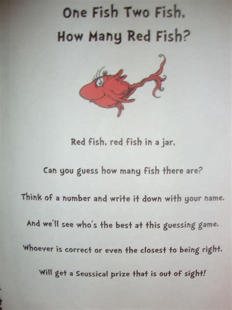 Dr Seuss Baby Shower Poems by Quot Guess How Many Fish Quot Poem Dr Seuss Birthday