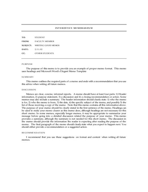 standard interoffice memo template free download