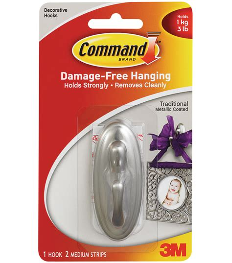 command medium picture hanging strips jo ann command traditional medium hook w adhesive 1 brushed