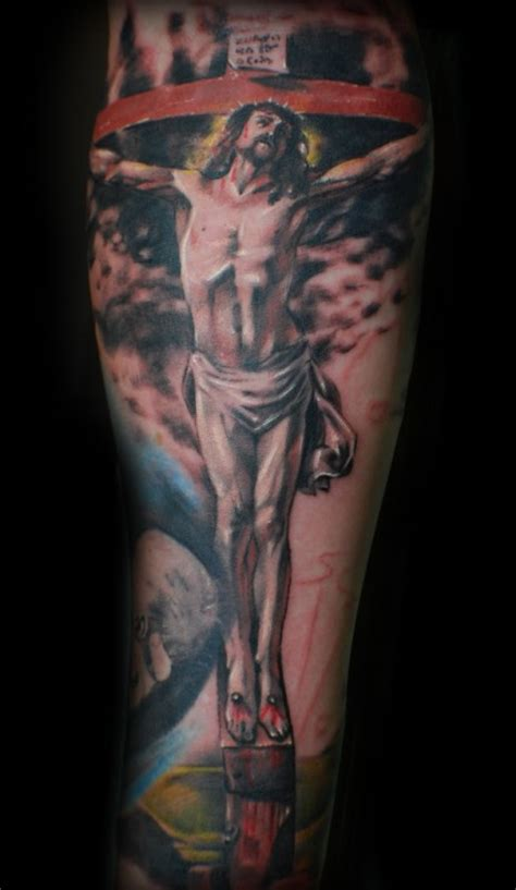 religious half sleeve tattoo ideas gloss