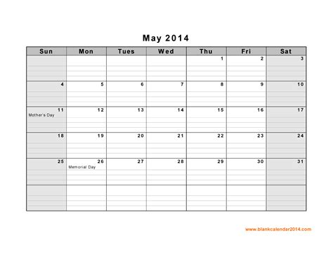 5 best images of may 2014 calendar printable template