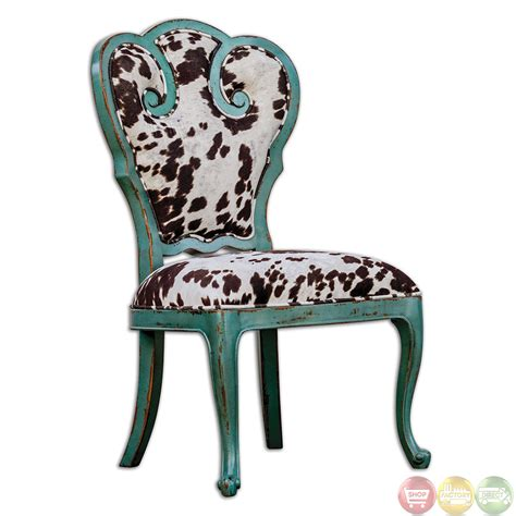 Turquoise Accent Chair Chahna Turquoise Cow Print Western Style Accent Chair 23620