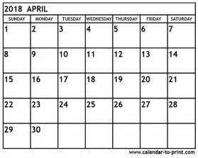 Calendar Of April 2018 April 2018 Calendar Printable