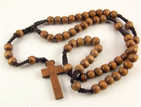 wooden bead wooden bead catholic rosary knotted macrame with wood