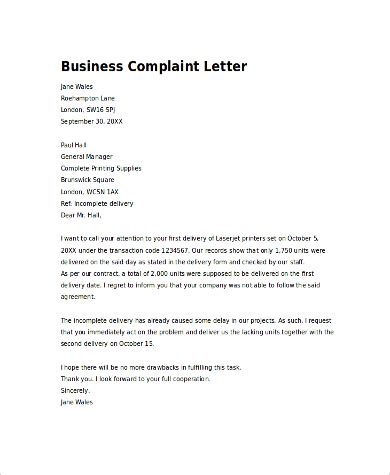 Business Letter Sle Delivery Business Letter Template Complaint 28 Images 10 Business Complaint Letter Templates Free Sle