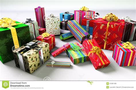 group of colorful christmas gifts royalty free stock