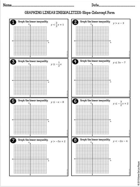 Graphing Linear Equations Worksheet Pdf by Algebra And Worksheets On