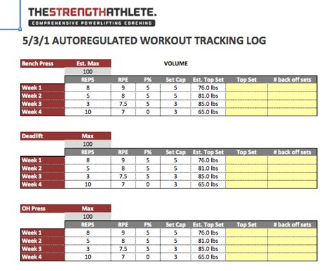 strength training template excel targer golden dragon co