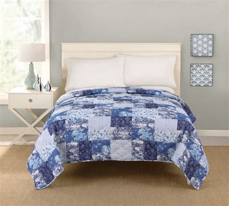 Blue Patchwork Quilt - big fab find patchwork quilt blue