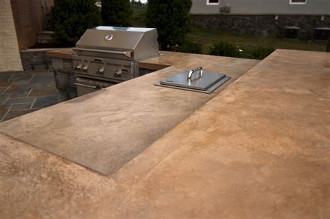 concrete countertop of outdoor kitchen traditional