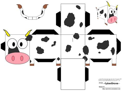 Folding Paper Animals Templates - cubee cow by cyberdrone on deviantart