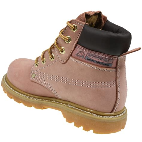 womens groundwork safety steel toe cap work boots pink