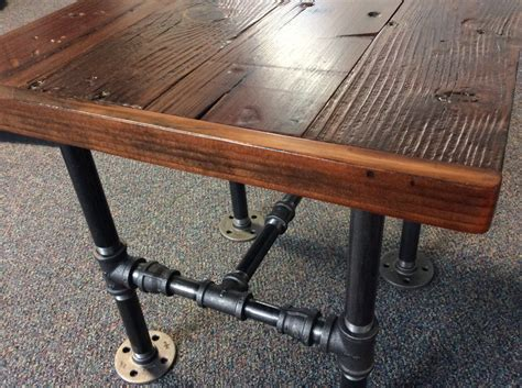 Black Pipe Table by Industrial Square End Table With Reclaimed Wood And Black Pipe