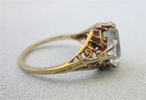 antique 14k aquamarine yellow gold ring size 6 from