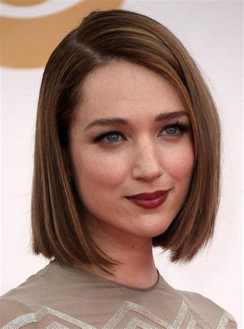 above the shoulder bob medium hairstyles mid length blunt cut with deep part