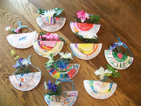 Paper Plate Basket Craft - may day flower baskets craft paper plate markers