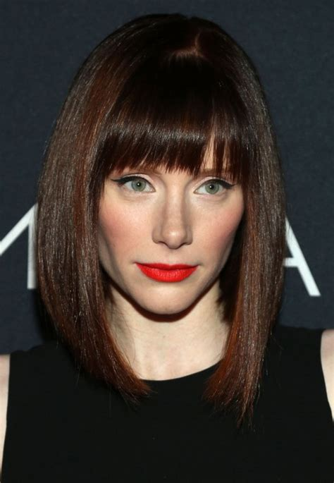 blunt cur with feathered bangs haircut long asymmetrical bob with bangs