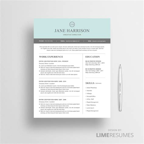 Modern Resume Template For Microsoft Word Limeresumes Resume Design Templates