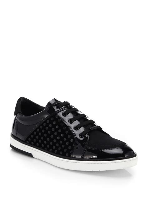 mens patent leather sneakers lyst jimmy choo sydney patent leather sneakers