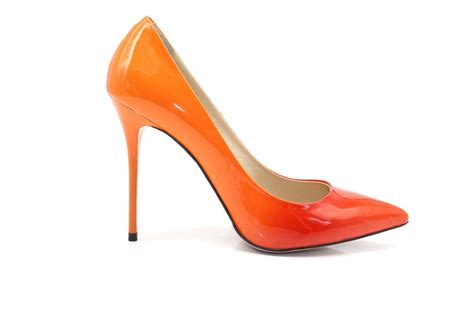 stylish pumps high heels stylish shoes ombre orange high heels
